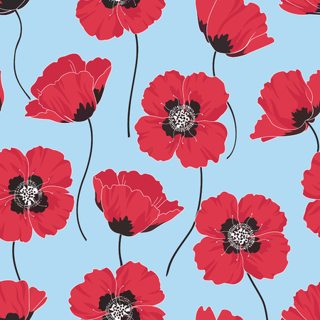 poppies: Seamless floral pattern with red poppies Illustration