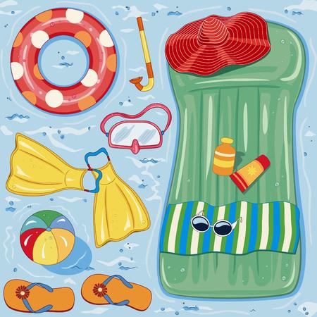 Summer beach accessories on blue water background
