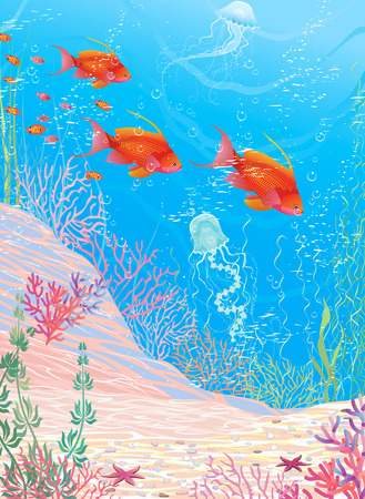 Underwater landscape with red fish Vector