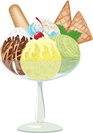 frozen dessert: Four different balls of ice cream in a glass vase on white background  EPS8