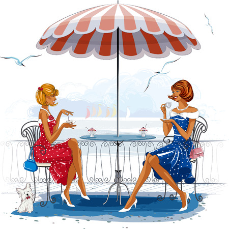 Twee mooie vrouwen zitten in het café in de buurt van het strand Stock Illustratie
