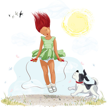 redheaded: Little girl jumping with skipping rope Illustration