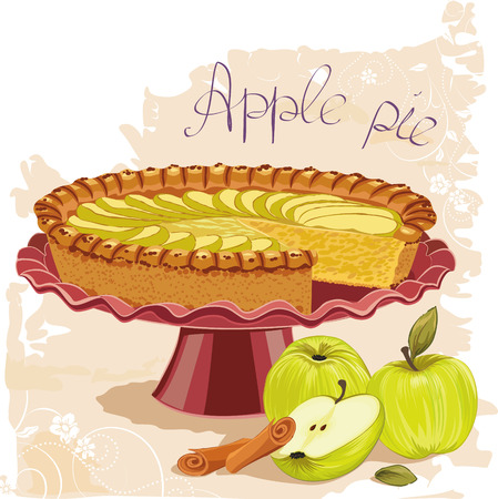Apple pie with green apples and cinnamon sticks on painting background