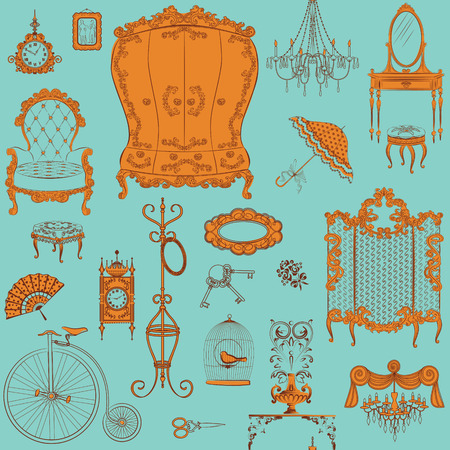dressing room: Seamless pattern with antique furniture Illustration