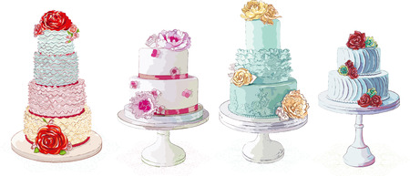 Vector romige taarten collectie geïsoleerd op witte achtergrond Stock Illustratie