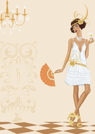 flapper: Contemporary woman dressed in style of the twenties standing with glass of cocktail
