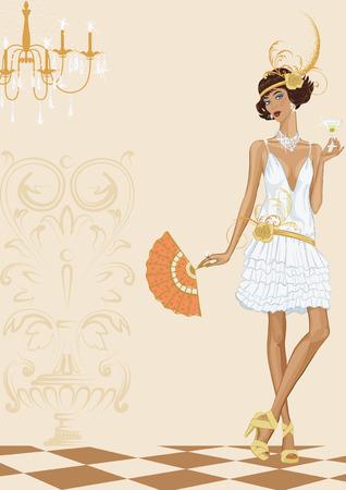 Mujer Contemporánea vestido con estilo de los años veinte de pie con un vaso de cóctel