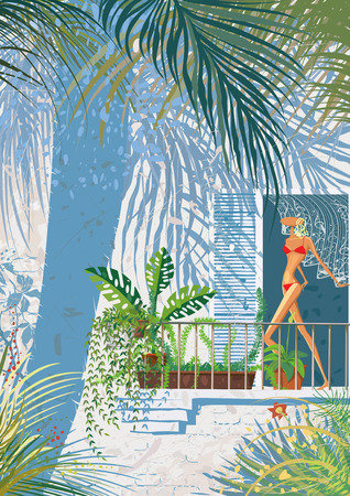 Summer shadows  Shadows from palm tree and others plants on wall of house with veranda Vector