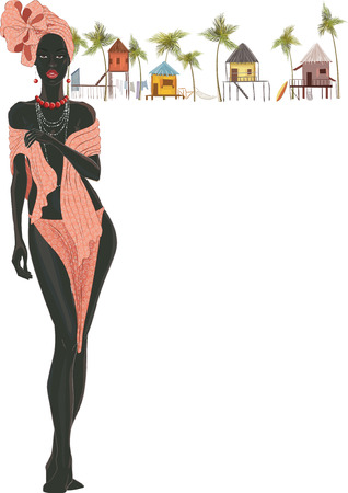 ilustraciones africanas: Mujer africana hermosa con turbante en la cabeza en el fondo blanco con cabañas Vectores