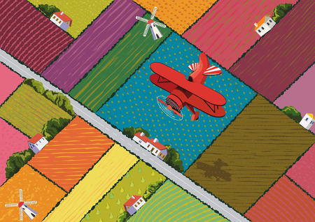 Background with colorful harvesting fields and flying red airplane