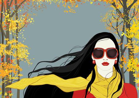 belle brunette: Portrait d'une femme brune avec de longs cheveux volant dans le vent sur fond avec des arbres d'automne