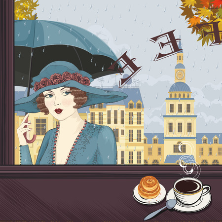 Portrait of a young woman with an umbrella in the window of a coffee-house in the rainy autumn day Vector