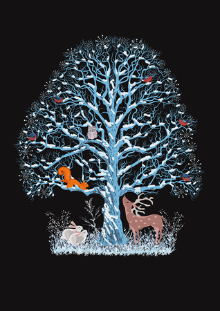 squirrel: Big blue tree with a flock of bullfinches, a squirrel and an owl on it as well as a reindeer and rabbits near it on the black  Illustration