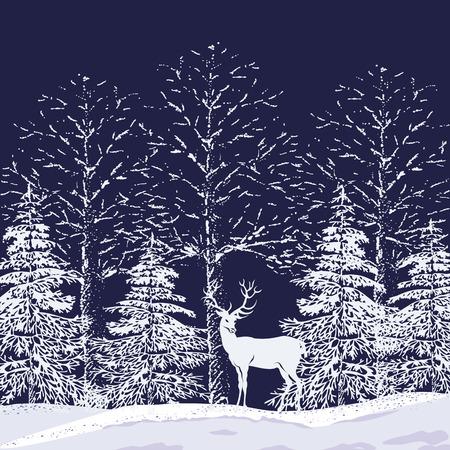 Silhouetten van besneeuwde bomen en dennen in het bos en rendieren op een donker blauwe achtergrond