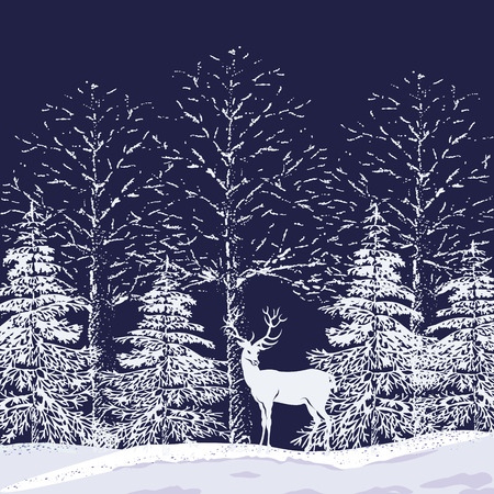 Silhouettes of snowy trees and fir trees in the forest and reindeer on a dark blue background Ilustração