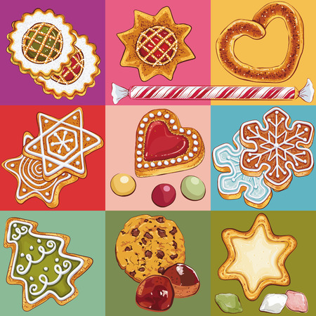 painting and decorating: Set of christmas cookies in colorful squares Illustration