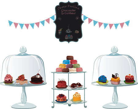 Many different cakes on cake stands isolated on white background