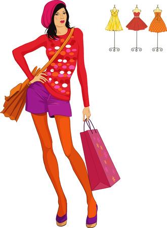 Linda chica de moda vestido de estilo retro con bolsa de compras aisladas sobre fondo blanco Ilustración de vector