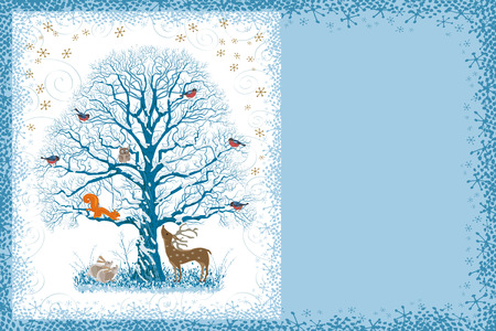 christmas owl: Christmas card with snow covered tree and different animals near and on it