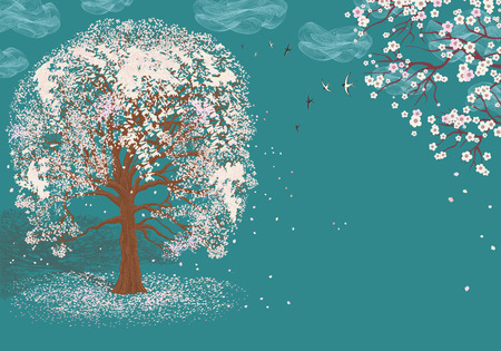 nature one painted: Vector illustration of blooming tree on blue background with abstract clouds