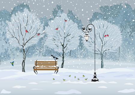 neige qui tombe: Se taire de neige dans le parc avec diverses espèces d'oiseaux Illustration