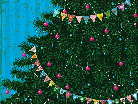 decorated christmas tree: Christmas tree with garland of colorful triangle flags with different pictures Illustration