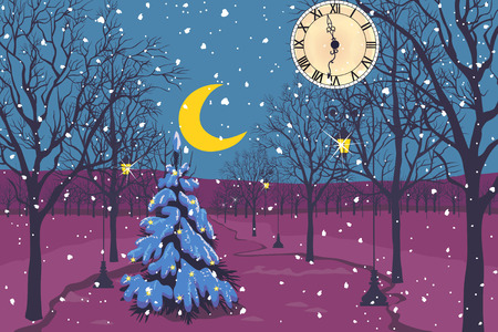 christmas landscape: Abstract landscape with Christmas tree, clock, moon and trees