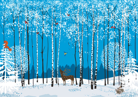 Birch trees with perching flock of bullfinches and different animals around in a winter forest Illustration