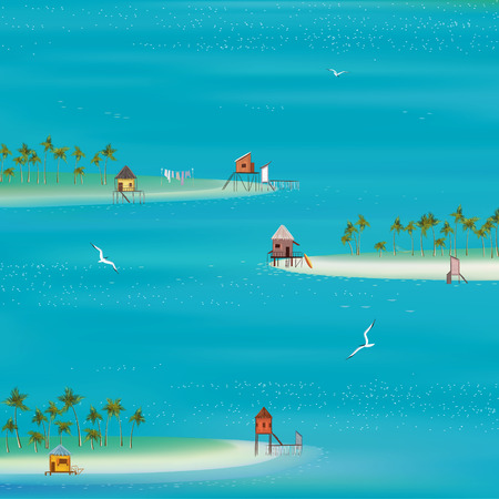 beach hut: Square composition with tropical islands on a sea background. Sea and islands created with Mesh tool.