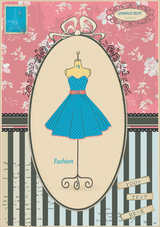 Vintage card with polka dots dress Vector