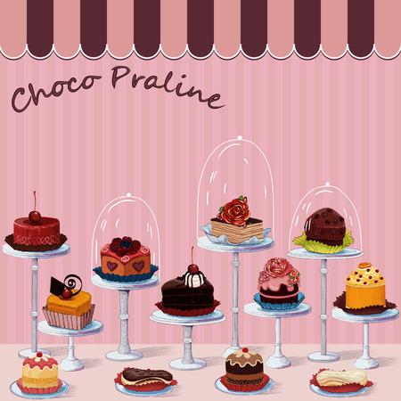 Gran grupo de diferentes tortas en gradas. Los pasteles son en una capa independiente