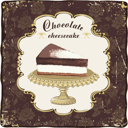 Vector chocolade cheesecake in een vintage frame
