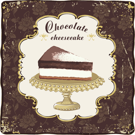 chocolate slice: Vector chocolate cheesecake in a vintage frame