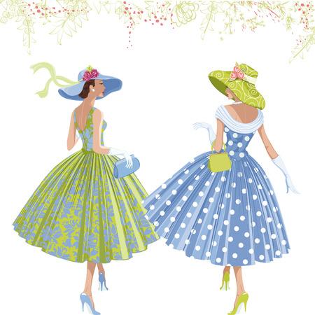 Twee wandelen elegante vrouwen gekleed in de stijl van de jaren 1950 op een witte achtergrond.