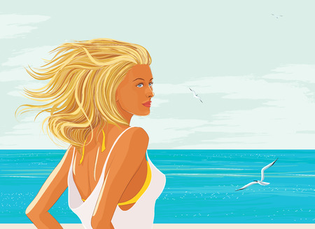 travelling: Beautiful blonde with long streaming hair at the sea Illustration