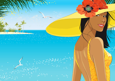 beautiful location: Portrait of young woman in yellow hat with red poppies on the beach Illustration