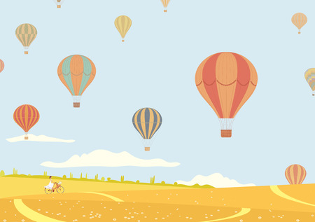 air vehicle: Vector illustration of hot air balloons over fields