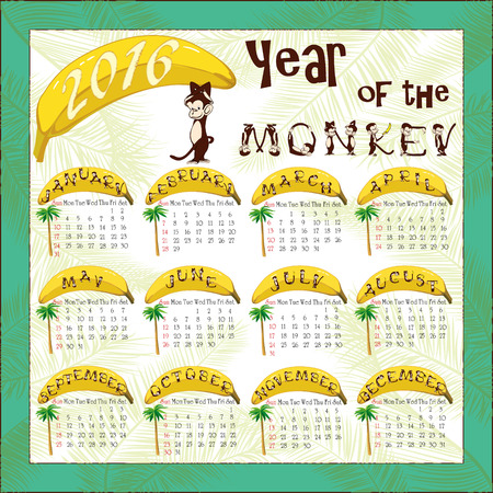 chinese alphabet: Calendar for 2016 with a symbol of the Chinese horoscope - a monkey. Month names are composed of monkey alphabet letters Illustration