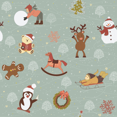 vector cartoons: Background with children, snowman, gingerbread, reindeer, wooden horse, teddy bear, penguin, garland, christmas tree like appliques on tissue