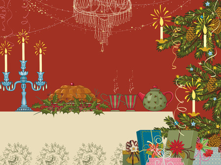 christmas party: Christmas home interior with a set for tea party table, Christmas tree and heap of gifts Illustration