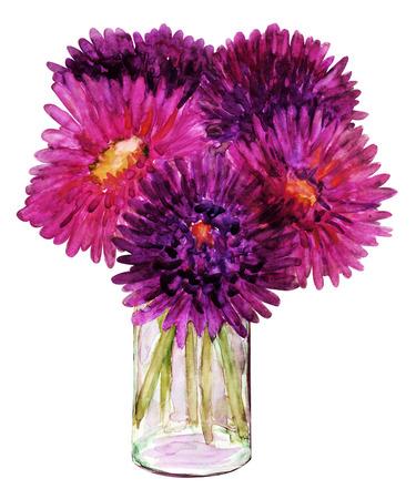 arreglo floral: Aster flores Pintura de la acuarela en un florero en el fondo blanco Foto de archivo