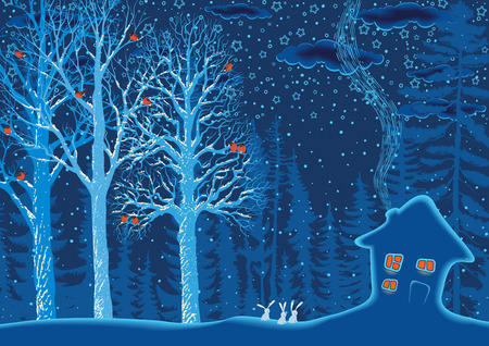 snow covered: Winter landscape with a snow covered hut and trees with a perched flock of bullfinches on branches in the forest Illustration