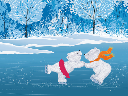 Pair of white little bears skating
