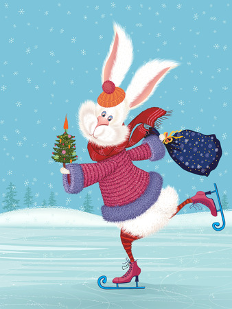 snow white: Cute fluffy rabbit ice-skating and holding a decorated with vegetables christmas tree and a filled with gifts bag