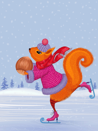 Fashionably dressed cute squirrel skating with hazelnut in her paws Ilustracja