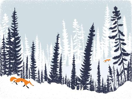 paisaje de invierno con las siluetas de los árboles y abetos