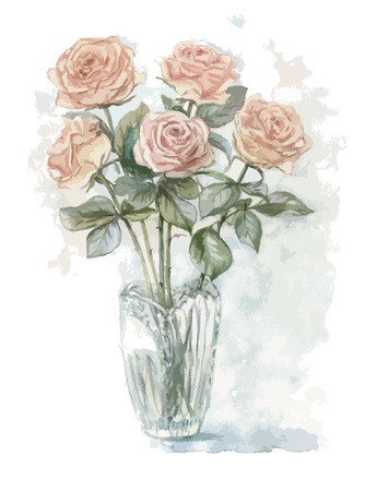 Vectorized watercolor painting with bouquet of cream roses in vase