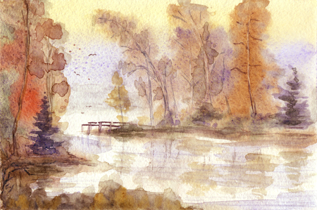 Acquerello disegnata a mano paesaggio autunnale Archivio Fotografico - 61075368