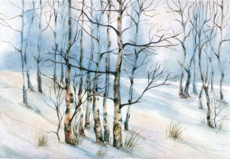 Watercolor landscape with birch trees in the snow Stock Photo