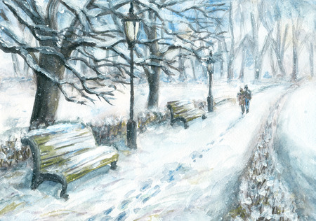 walking path: Winter park with a walking couple. Watercolor and gouache painting Stock Photo